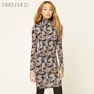 Forever 21 (フォーエバー 21) - Forever 21 フラワープリントタイトワンピース