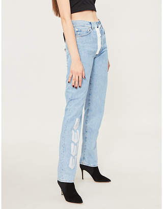 Off-White Logo-embroidered high-rise straight-leg jeans