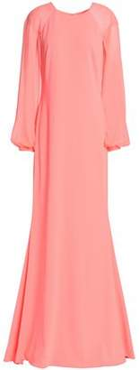Badgley Mischka Georgette-Paneled Crepe Gown