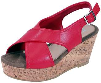 FUZZY Anya Women Extra Wide Width Platform Corkscrew Wedge High Heel Slingbacks 11