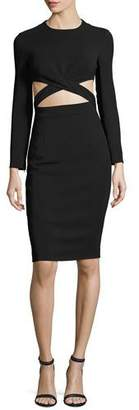 Michael Kors Cutout-Midriff Long-Sleeve Cocktail Dress, Black