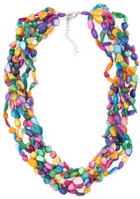 Sterling Silver Multicolor Pearl 6 Row Necklace