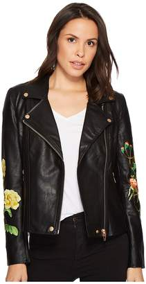 Blank NYC Floral Moto Jacket in Bed of Roses Women's Coat