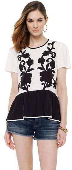 Juicy Couture Floral Appliqué Top