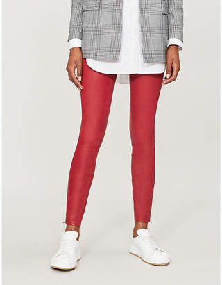J Brand Super-skinny mid-rise leather jeans