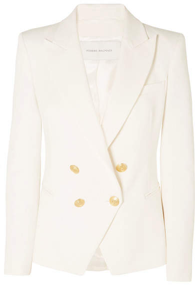 Pierre Balmain Double-breasted Cotton-blend Twill Blazer