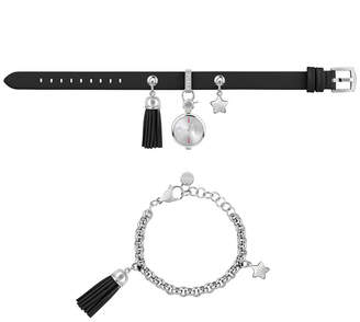 Furla Women Stacy White Dial Stainless Steel Chain Calfskin Leather Watch Set