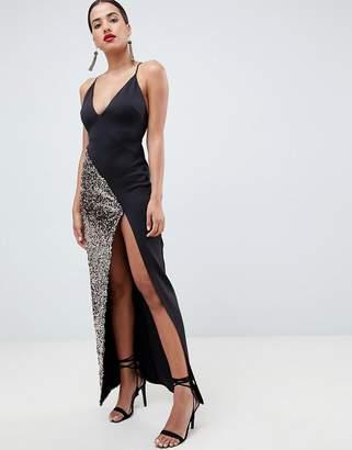 Asos DESIGN sequin thigh split maxi dress