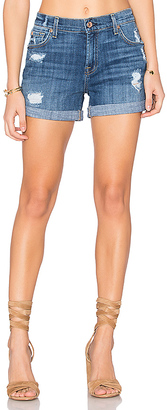 7 For All Mankind Relax Mid Roll Short in Blue $169 thestylecure.com