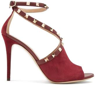 Valentino Rockstud cross-strap suede pumps