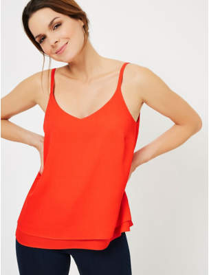 George Red Textured Double Layer Camisole
