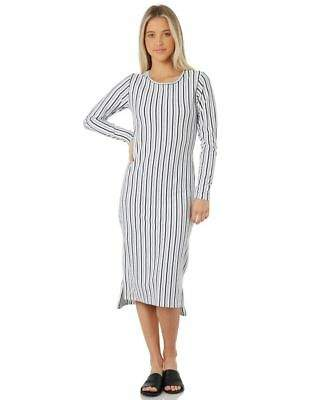 Swell New Women's Essential Long Sleeve Midi Dress Stripe