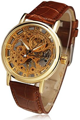 ABS by Allen Schwartz メンズステンレススチールMechanical Skeleton Sport Wrist Watch