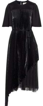 Layered Pleated Tulle-Paneled Silk-Blend Lamé Midi Dress