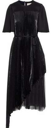Christopher Kane Layered Pleated Tulle-Paneled Silk-Blend Lamé Midi Dress