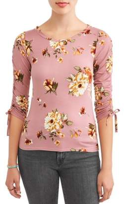 """Eye Candy Juniors' Printed Peached 3/4"""" Sleeve Side Shirred T-Shirt"""