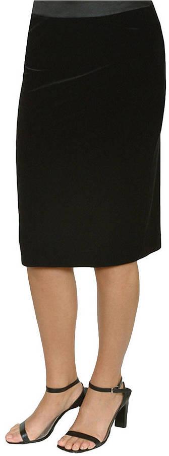 JS Collections Black Velvet Pencil Skirt
