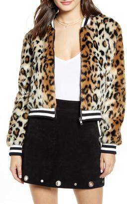 Jack by BB Dakota Leopard Faux Fur Bomber Jacket