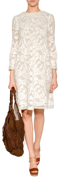 Anna Sui Cream Wooly Lace Dress
