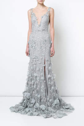 Marchesa Sleeveless Embroidered Gown