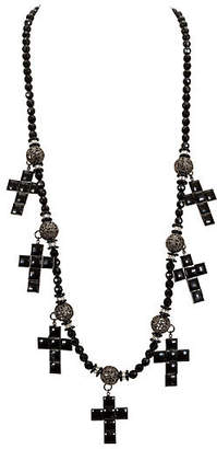 One Kings Lane Vintage One-of-a-Kind Vrba Black Cross Necklace - Vintage Lux