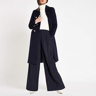 River Island Womens Navy double-breasted longline coat