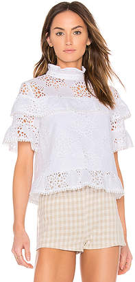 J.O.A. Ruffle Neck Lace Mix Top in White $72 thestylecure.com