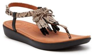 FitFlop Tia Fringe Snake Print Leather Thong Sandal