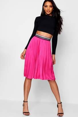 boohoo Rainbow Waistband Satin Pleated Midi Skirt