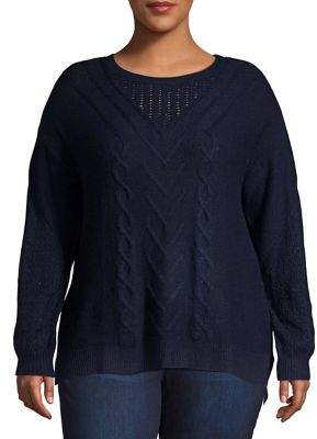 Lucky Brand Plus Cable-Knit Sweater