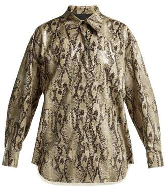 MSGM Python Effect Shirt - Womens - Beige