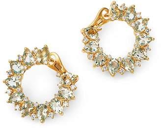 Kiki McDonough 18K Yellow Gold Juno Green Amethyst & Diamond Sunflower Earrings
