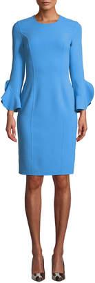 Michael Kors Jewel-Neck Ruffle-Sleeve Stretch-Wool Crepe Sheath Dress