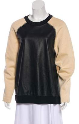 Proenza Schouler Leather-Accented Sweater