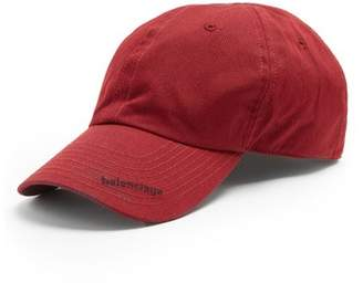 Balenciaga Logo Embroidered Cotton Cap - Mens - Burgundy
