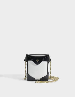 Atelier Manu Micro Pristine Bag with Chain Strap in White and Black Vegetable Tanned Calfskin and Suede