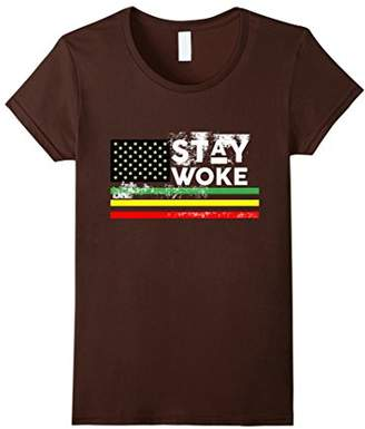 Womens Stay Woke African American Flag T Shirt