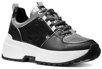 MICHAEL Michael Kors Women's Cosmo Mixed Media Lace-Up Sneakers