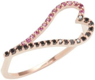 Black Diamond Kwit Gold, & Ruby Heart Ring