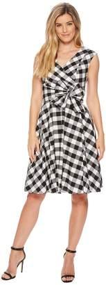 Calvin Klein V-Neck Gingham A-line with Tie Waist CD8GXR3J Women's Dress