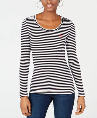 GUESS Originals Iconic Triangle-Logo Striped Top