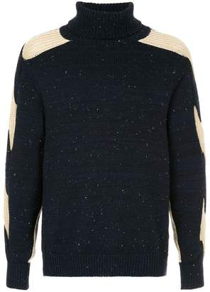 Coohem contrast sleeve cable knit sweater