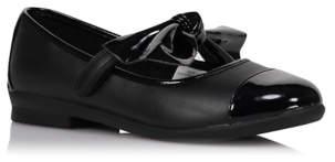 dc44eb94e97 George Girls Black Micro-Fresh Patent Bow School Shoes