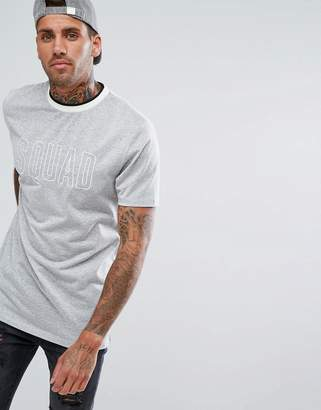 Asos DESIGN Longline T-Shirt With Squad Embroidery And Tipped Rib