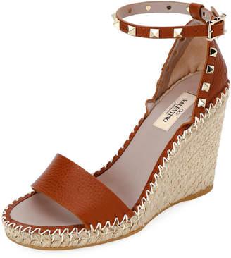 d8b223a47de Valentino Rockstud Double Espadrille Wedge Sandals