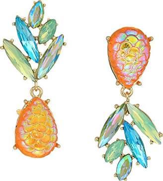 Betsey Johnson GBG) Paradise Lost Women's Pineapple Mismatch Drop Earrings
