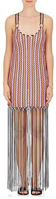 Missoni Mare Women's Fringe-Trimmed Chevron-Knit Racerback Dress