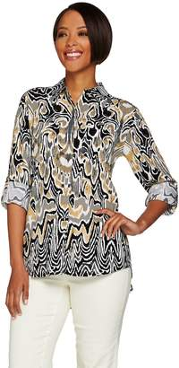 """C. Wonder Ikat Print Button Front """"Carrie"""" Blouse with Back Pleat"""
