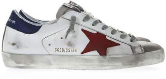 Golden Goose White Leather Superstar Sneakers With Fuchsia And Blue Inserts