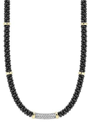 Women's Lagos 'Black Caviar' 5Mm Beaded Diamond Bar Necklace $2,500 thestylecure.com